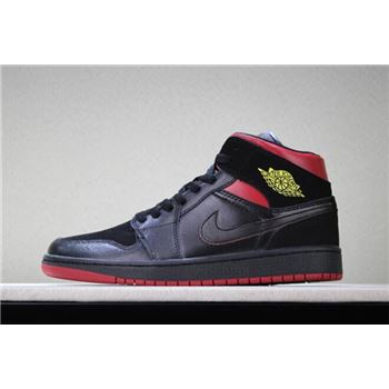 Air Jordan 1 Mid Last Shot Black/Red-Yellow Men's and Women's Size 554724-076