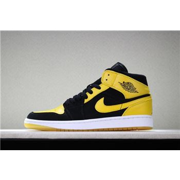 Air Jordan 1 Mid New Love Black/Varsity Maize-White 554724-035 Free Shipping
