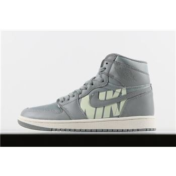 Virgil Abloh Off-White x Air Jordan 1 High OG Nike Swoosh Cool Grey/Sail For Sale