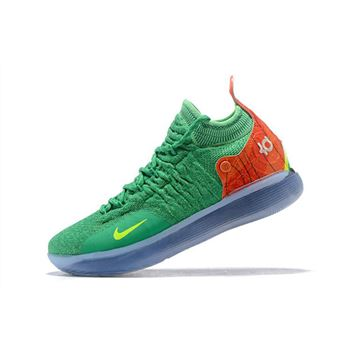 Nike KD 11 Green/Orange-Yellow Men's Basketball Shoes For Sale