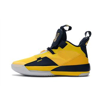 Air Jordan 33 Michigan PE Yellow/Navy Blue
