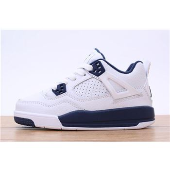Kid's Air Jordan 4 White/Navy Blue