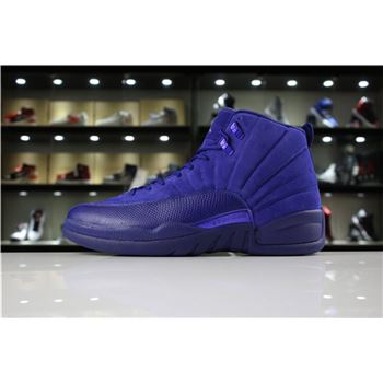 Cheap Air Jordan 12 Blue Suede Deep Royal Blue/White-Metallic Silver 130690-400