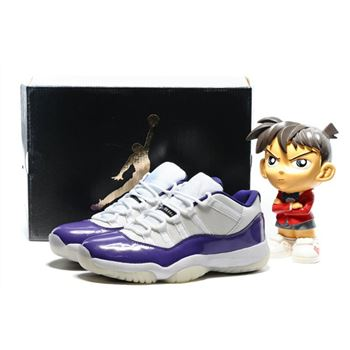 Men's Air Jordan 11 Low Lakers White/Purple Custom by KIXAR