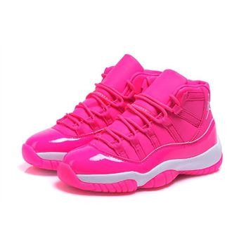 Women's Air Jordan 11 GS Pink Everything Pink White Shoes