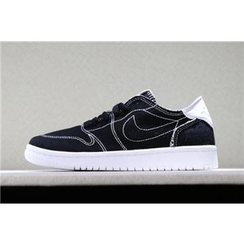 Kid's Air Jordan 1 Low Black Denim Black/White Levi's Basketball Shoes