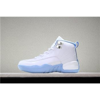 Kid's Air Jordan 12 Melo White/Metallic Gold-University Blue